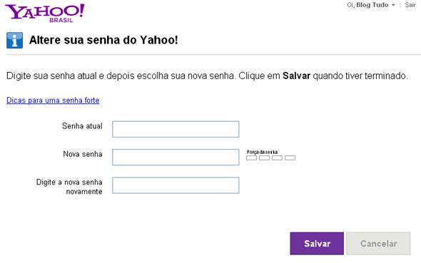 Trocar senha Yahoo Mail