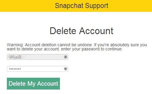 deletar conta snapchat