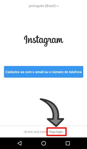 Nao consigo entrar Instagram