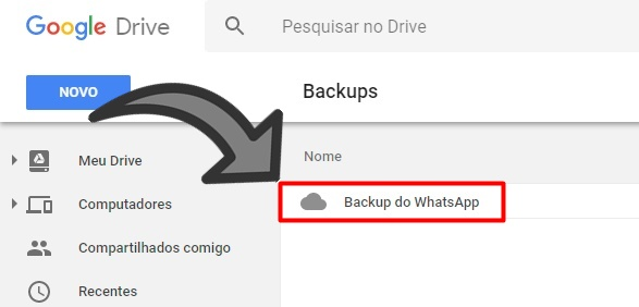 Apagar backup WhatsApp