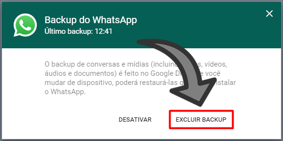 Excluir conversa WhatsApp Google Drive