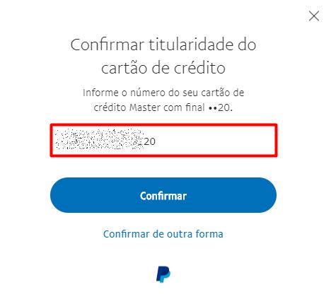 Cartao PayPal recuperar senha