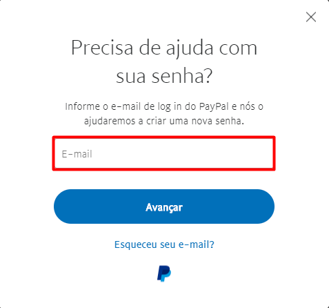 Recuperar senha contrasena PayPal